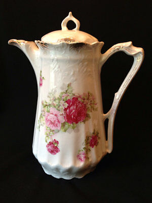 Antique PINK & RED ROSES Porcelain COFFEE POT