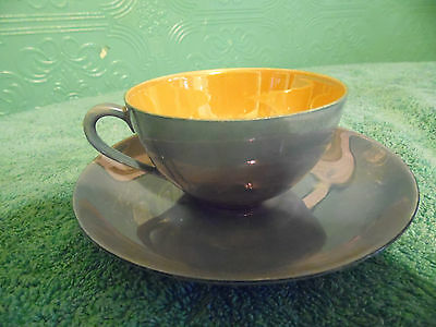 Meito China Lusterware Tea Cup Saucer Blue Gold  Japan  Hand Painted