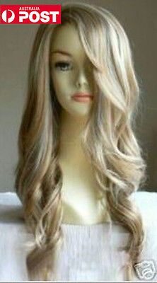 Women Mix Blonde Long Curly Wavy Bangs Cosplay Synthetic Hair Full Wig Wigs
