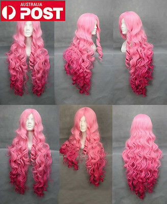 New Mix Pink Long Wavy Bangs Lady's Cosplay Women Hair Synthetic Full Wig Wigs