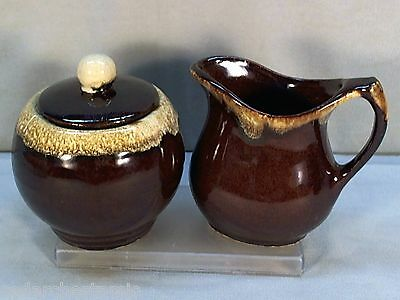 RRP Robinson - Ransbottom Pottery Brown Drip Cream Pitcher & Covered Sugar Bowl