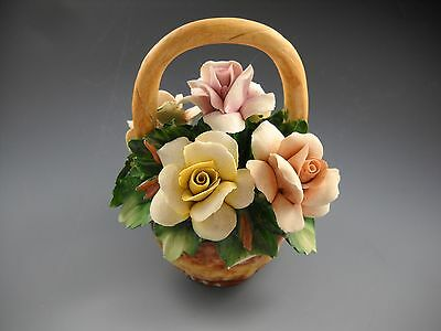Capodimonte Vintage Miniature Handled Basket of Roses