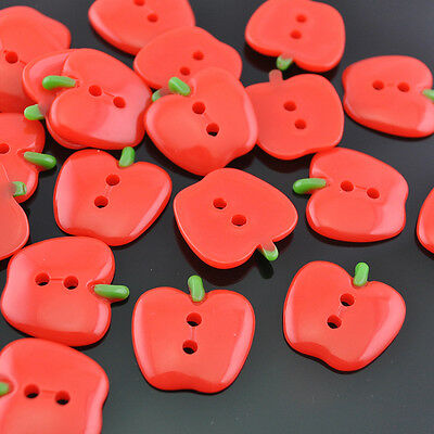 10/30pcs Resin Red Apple  Flatback Button Craft Appliques 20x20mm Ornament