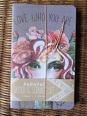 Papaya Art Rose Tattoo Love Who You Are Set 2 Pad Sketch Notebook Blank Lined