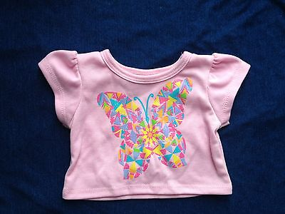 toy- doll-build a bear clothes-pink butterfly shirt