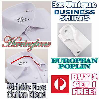 1x or 3x White Mens Business Shirt Standard Boss Button Cuffs Chest Pocket Style