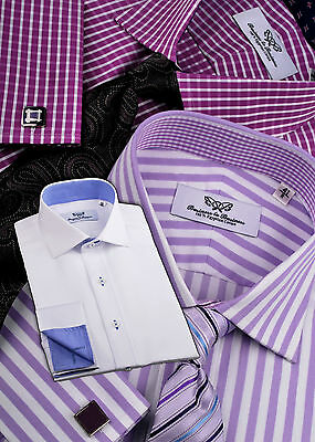 3x Mens Business Shirts Red White Pink Checkered Herringbone Striped Poplin Lot
