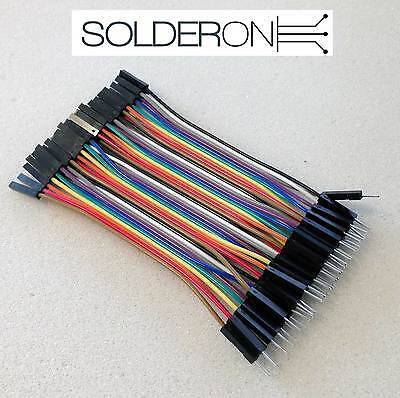 Breadboard DuPont Jumper Wire 100mm 40pcs MALE TO FEMALE - AU STOCK