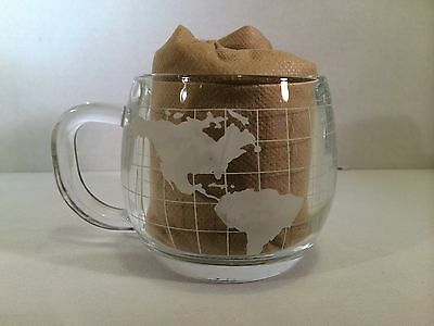 Vtg Nestle World Globe Frosted Etched Glass Coffee Tea Cups Mugs Set of Two EUC