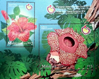 World Youth Exhibition 2014 Hibiscus & Rafflesia Flower Flora (ms) MNH *Glitter