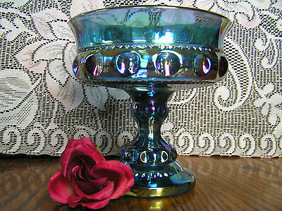 Vtg Indiana King Crown-Thumbprint-Beautiful Blue Iridescent Carnival CompoteWOW