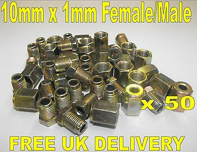 """3/16"""" Copper Brake Pipe Fittings 25 x Male & Female Metric Nuts 50 Pieces"""