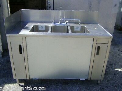 "54"" 3 Compartment Stainless Steel Sink Cart"