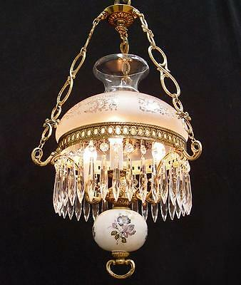 "VINTAGE 3 LIGHT 14"" x 24"" BRASS ~ CRYSTAL HURRACANE GLASS PARLOR Lamp CHANDELIER"