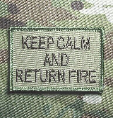 Keep Calm And Return Fire Tactical Combat Usa Army Multicam Hook Morale Patch