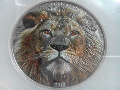 2013 4OZ African Lion Colorized Silver Coin With COA