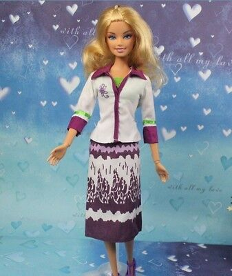 High quality Original purple gown wears clothes for barbie Doll Party c118