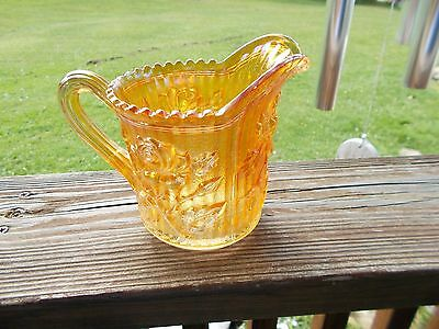 Vintage Imperial  Carnival Glass Roses Marigold Small Pitcher