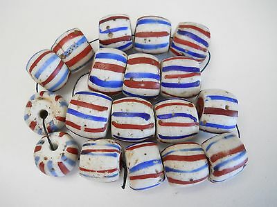 """18 LARGE OLD VENETIAN """"AMERICAN FLAGS""""  ANTIQUE AFRICAN TRADE BEADS"""