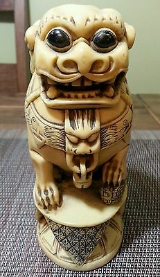Vintage Hand Carved Resin Oriental Foo Dog Figurine, Ivory Color, Asian, Rare