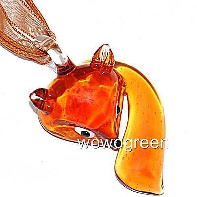 Cute Brown Fox Animal Lampwork Glass Murano Bead Pendant Ribbon Necklace Cord