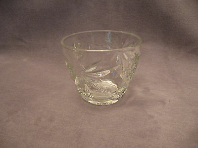 CLEAR GLASS PATTERNED SUGAR BOWL