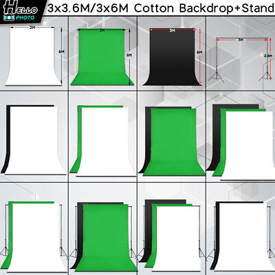 Photography Studio Green White Black Muslin Backdrop Background Tripod Stand Kit