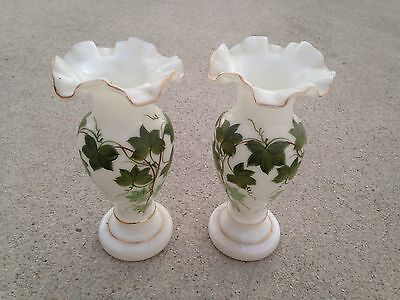 Pair Large Consolidated Milk Glass Vases Green Ivy Hand Painted Antique