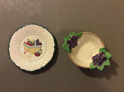 FITZ AND FLOYD~OMNIBUS PLATE~GARDEN VEGGIES~1995~+ F&F BASKET WEAVE BOWL~GRAPES