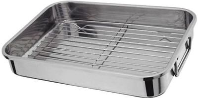 STAINLESS STEEL ROASTING TRAY OVEN PAN DISH BAKING ROASTER TIN GRILL RACK Large