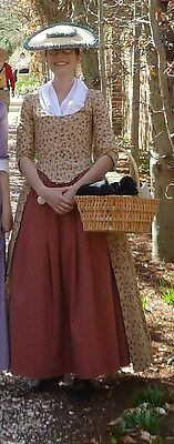 18th century DAR cotton colonial gown robe a l'anglaise ~ hand-sewn costume