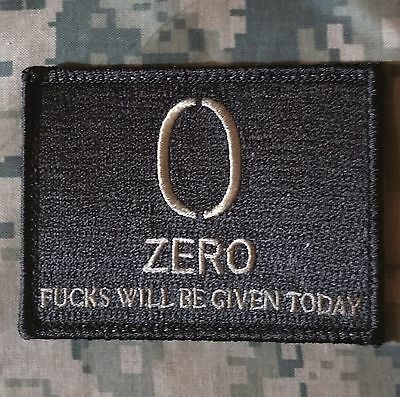 ZERO 0 F's EFF's WILL BE GIVEN TACTICAL US ARMY USA ACU LIGHT HOOK MORALE PATCH