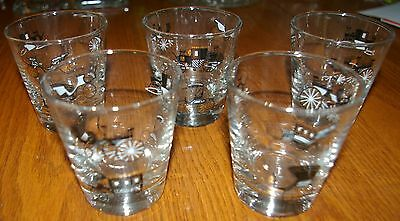 Set of 5 ~ 1950's Libby Horseless Carriage Cocktail glasses Gold/black! Kitchy!