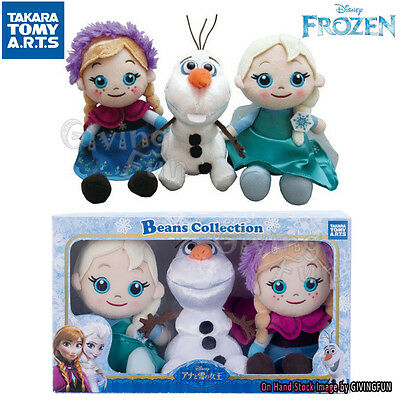 TAKARA TOMY Beans Collection the Snow Queen Olaf Elsa Anna Plush Doll Set of 3