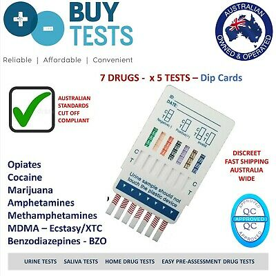 Urine Drug Test kit. Dip card for 7 Drugs (pack of 5 kits). Easy use at home.