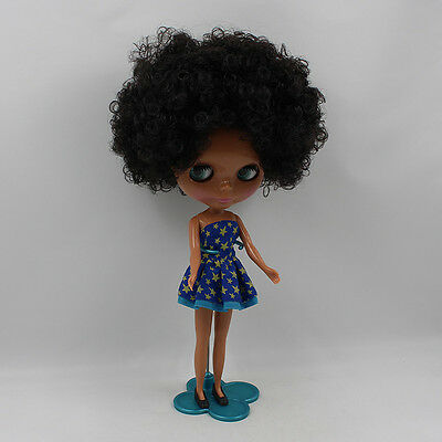 "12"" Neo Nude  Dark Skin Black hair Blythe doll From Factory  JSW53012"
