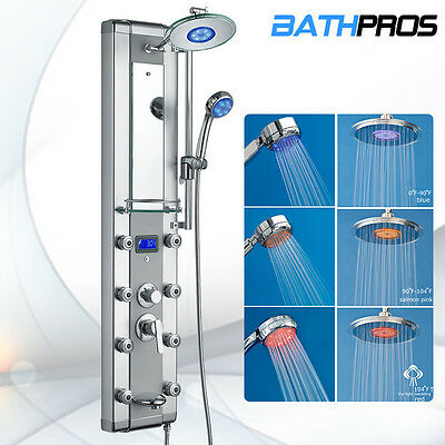 Aluminum Shower Tower Head Tub Jets & Temp Display Spout Panel