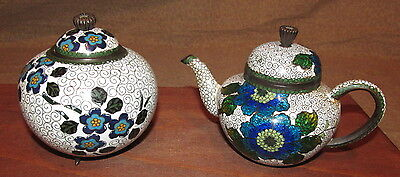 Antique Japanese Cloisonne Tea Pot and Tea Caddie