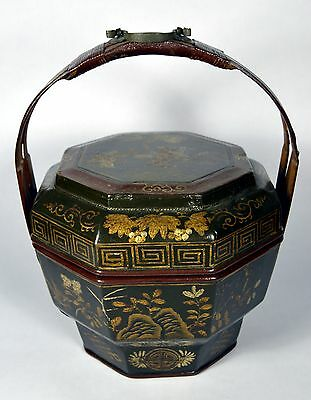 Antique Gilt Ornate Hand Painted Tiered Lacquered Chinese Elders Wedding Basket
