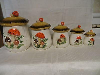 Vintage 5-Piece Mushroom Ceramic Canister Set with Lids - JAPAN
