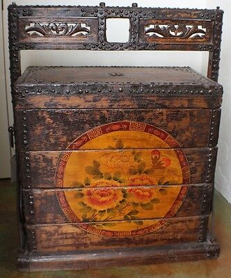 """39"""" H wedding trunk metal edged antique hand carved elm wood brown yellow unique"""