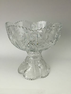 Antique Daisy & Button ABP Brilliant Period Cut Glass 2 Piece Footed Punch Bowl