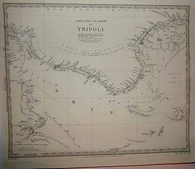 1837 SDUK Map North LIBYA Gulf of Sirte Coast, Compiled from Multiple Explorers