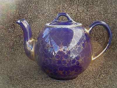 """VINTAGE HALL'S CHINA TEAPOT """"FRENCH FLOWER"""" GOLD ON COBALT BLUE # H 24"""