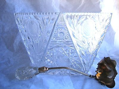 Cut Crystal Punch Bowl + Ladle American Brilliant Buzzstars Glass Diamond Shaped