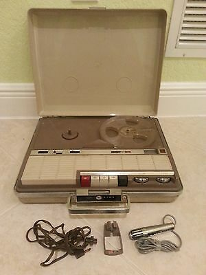Vintage AIWA TP-719 Executive Portable Reel To Reel Recorder Microphone AC Cord