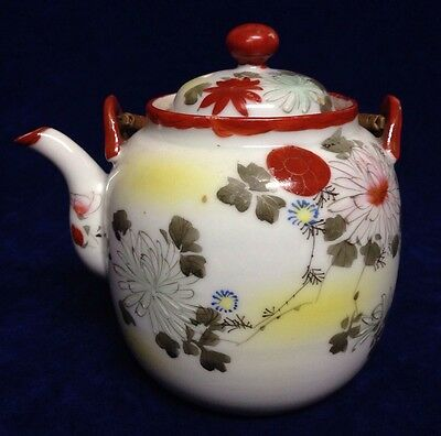 Old Delicate Asian Hand Painted Lidded Teapot w/ Bamboo Handle - No Chips !
