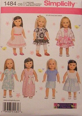 """Simplicity 1484  18"""" Doll Clothes Pattern Fits American Girl New For 2014"""