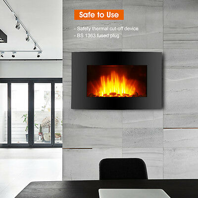 2000W LED Wall Mounted Electric Fireplace Heater Fire Stove with Remote Control