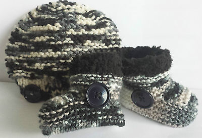 Baby Boys Hand Knitted Hat & Boots / Booties Newborn -  3-6 Months- Black Multi